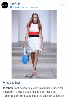 Instagram Topshop model on runway. Rock seaside stripes for yourself. Head to website to shop the catwalk collection