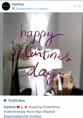 Instagram Topshop. Happy Valentines day, written on a mirror. #topshop #valentines #valentinesday #love #lips #lipstick #topshoplipbullet #redlips