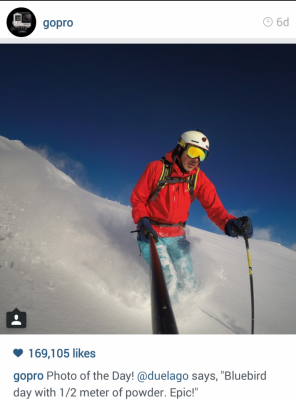 "GoPro Instagram man skiing. Photo of the day @duelago says, ""Bluebird day with 1/2 meter of powder. Epic!"""