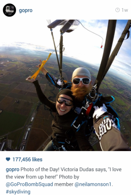 "GoPro Instagram couple skydiving. Photo of the day. ""I love the view from up here!"" #skydiving"
