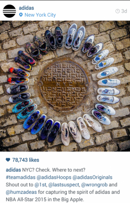 Circle of Adidas shoes. Instagram. NYC? Check. Where to next? #teamadidas
