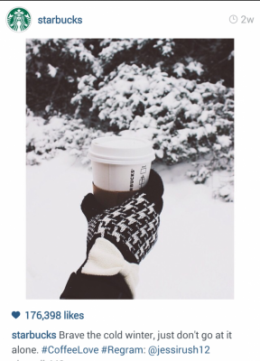 Istagram Starbucks coffee on a snowy day. Brave the cold winter, just don't go at it alone. #CoffeeLove #Regram