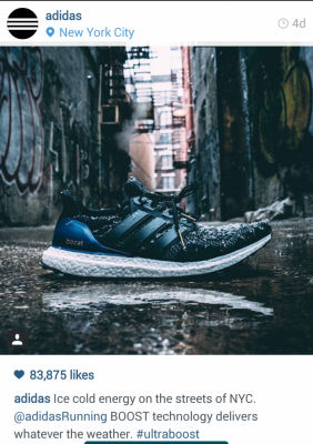 Black and blue Adidas Instagram shoes. Ice cold energy on the streets of NYC. #ultraboost