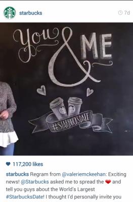 Instagram Starbucks You and Me chalkboard. #Regram. #StarbucksDate