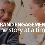 Brand engagement: one story at a time. Happy elderly woman talking to helpful staff member.
