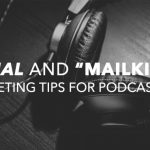 "Serial and ""Mailkimp"" Marketing for podcast ads. Headphones on a desk."