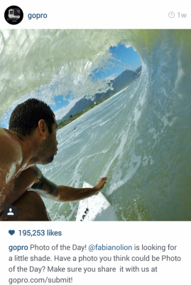 Instagram GoPro Man Surfing. Photo of the day. Make sure to share your photos with us.