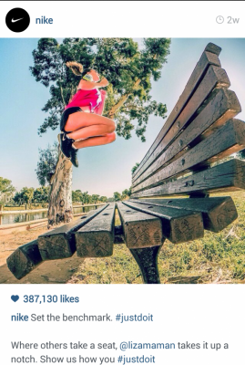 Nike Instagram athlete jumping on a bench. Set the benchmark. #justdoit