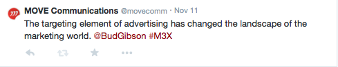 The targeting element of advertising has changes the landscape of the marketing world. @BudGibson #M3X