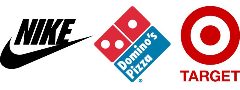 Nike, Domino's, Target logos